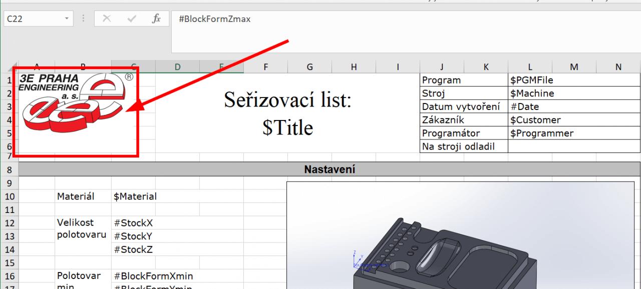 Technický tip CAMWorks – Změna seřizovacího listu ve formátu Excel