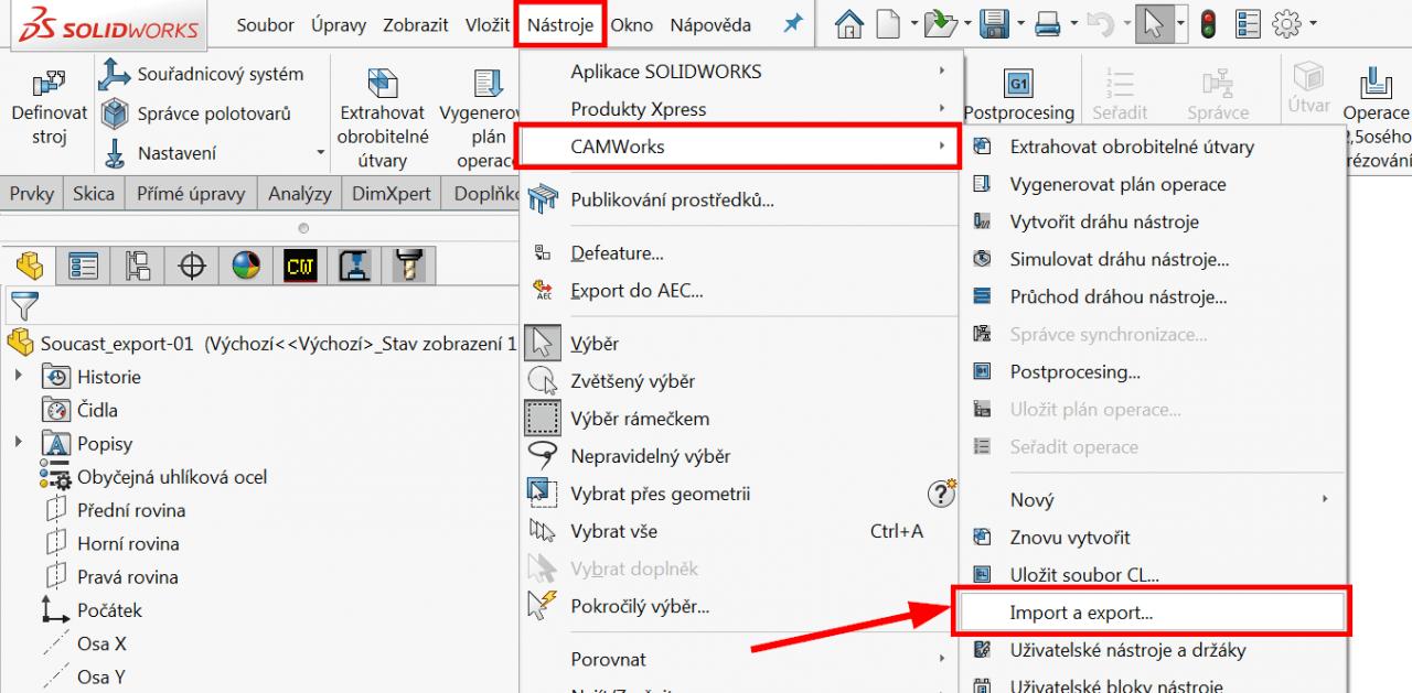 Technický tip CAMWorks – Export a import dat obrábění