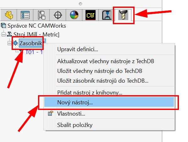 Technický tip CAMWorks – Tvorba vlastního zásobníku nástrojů