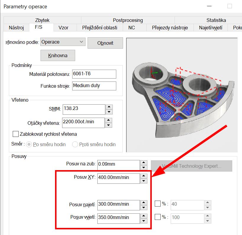 Technický tip CAMWorks – Barva dráhy nástroje dle posuvu