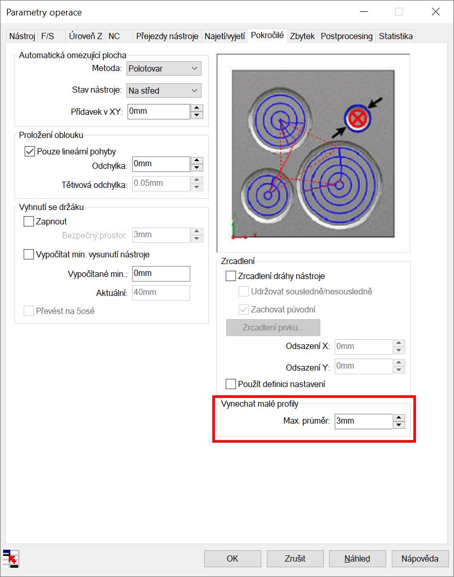 Technický tip CAMWorks – Funkce Vynechat malé profily u 3osých operací